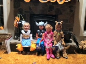 Maggie and Georgie with Miles & Vaughn.  This was taken on Halloween but it could be any Thursday night.