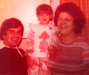 Me and my parents circa 1978.  How did she do it?