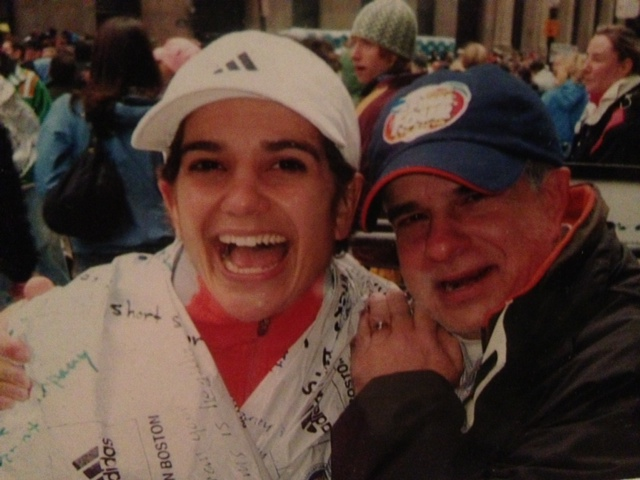 Me and my dad at the finish of the Boston Marathon in 2007.  Best. Moment. Ever.