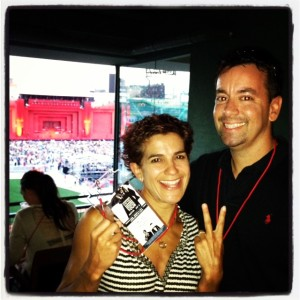 "Me and the hubs with our ""suite"" passes!  Sweet."