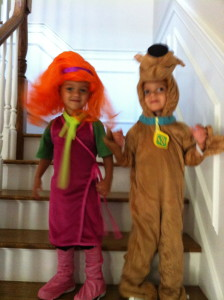 Last year they were Daphne and Scooby for Halloween.  Vaughn as drag queen.  Love it!