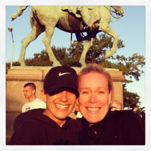 All smiles with my bestie pre-race...and a man on a horse photo bombing us.
