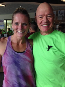 Fitness Director Heather Labbe and the big man HANK - sweating for the cause!