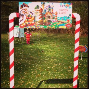 This is the LIFE SIZE Candy Lane game she made for her daughter's birthday.  The kids actually got to be a game piece and pick up treats along the way!