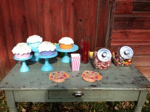 The cakes displayed along side the barn.  I mean, you cannot make this up!