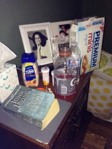 All the things a good sick bedside table needs.  UGH!