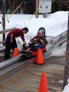 Finish line of the Mountain Coaster!