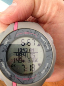 6.7 miles at 7:18 pace from my Garmin vs...