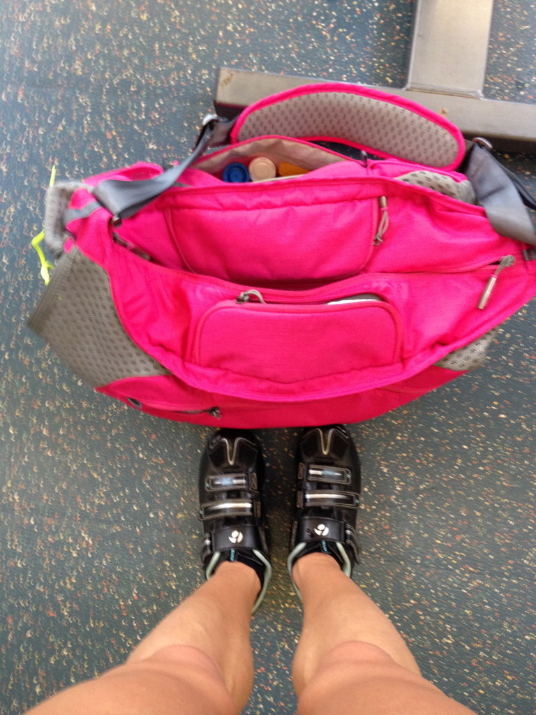 My running shoes are packed neatly on one side, just waiting for me.