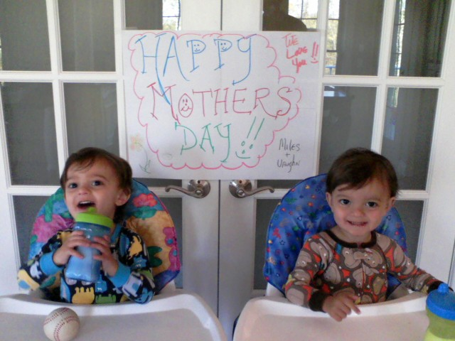 I know she would prefer I use this picture, instead of one of her.  Plus, she made the sign behind them for my second (?) Mother's Day.