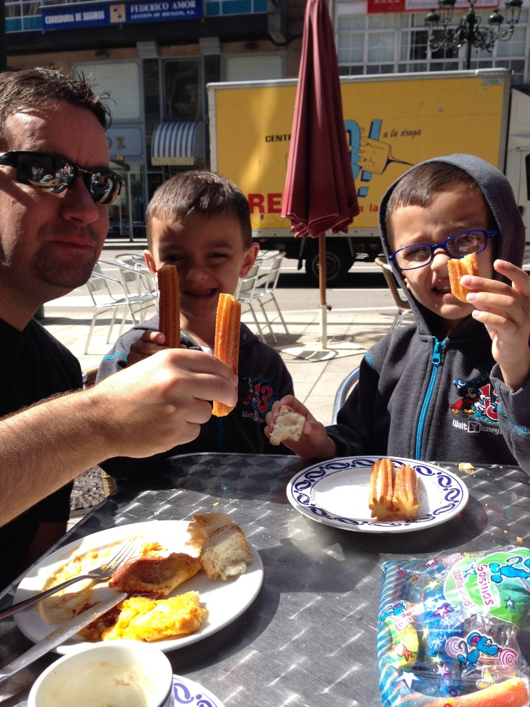A healthy Spanish breakfast of churros and fresh squeezed orange juice!