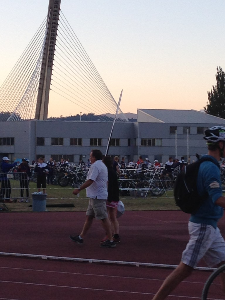 The track site (with a gorgeous bridge in the background) as the sun is setting.
