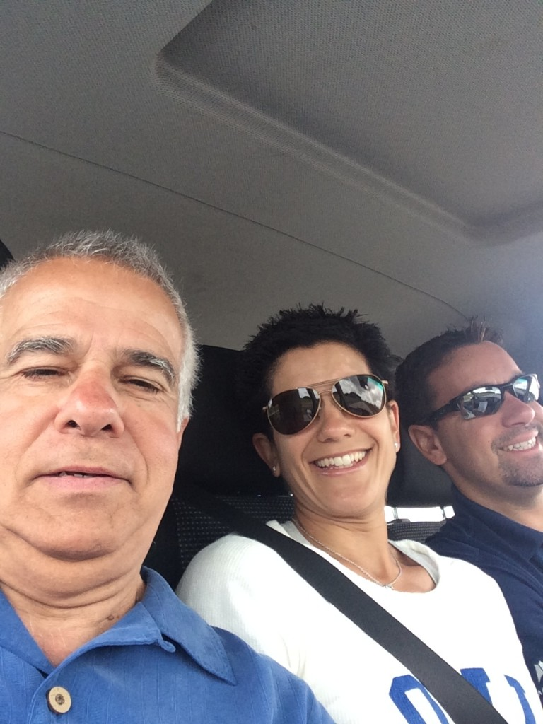 Selfie taken by my dad while Mike was actually driving.  It was ok because no one was on the road!