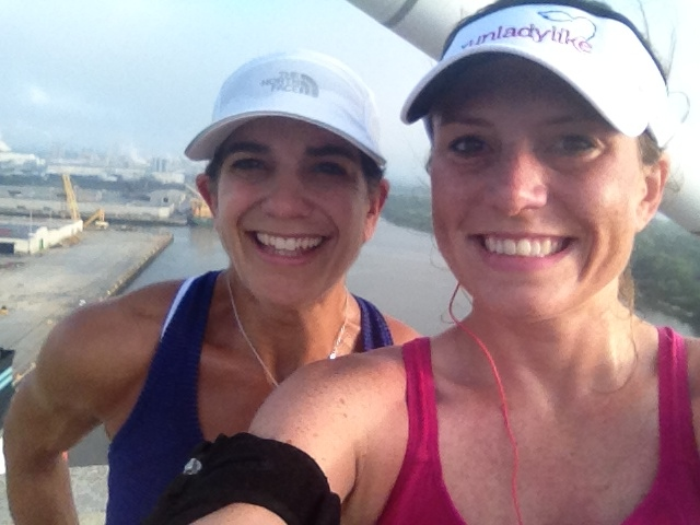 Selfie with Jes of rUnladylike - on a HUGE bridge, for a 6 miler on our last day in Savannah.