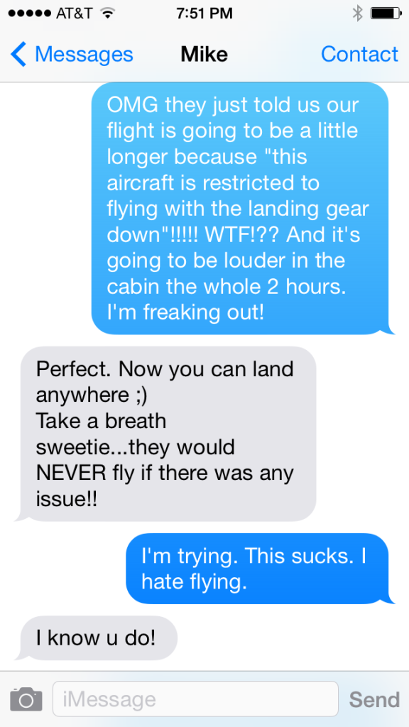 The actual text messages I was sending to my husband who was trying to talk me off the ledge...