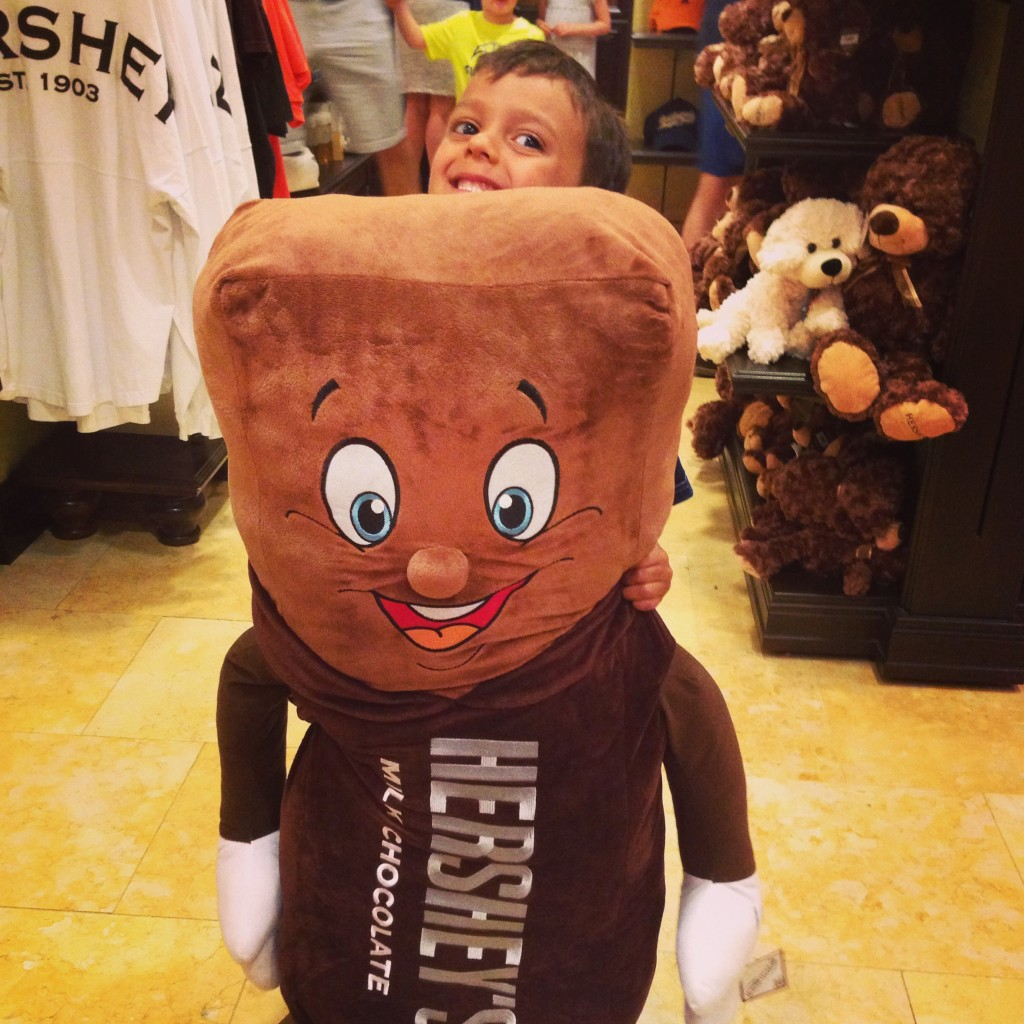 Not sure if you can actually see Miles, but he's holding up the giant Hershey doll. Nothing weird here.