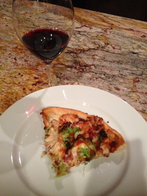 Wine and pizza with chicken broccoli and bacon. Yes, I deserved bacon and it was amazing.