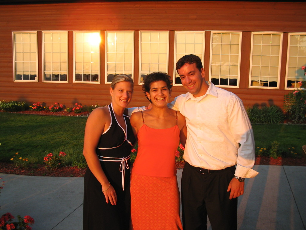 Julie, me and my husband (who was just my boyfriend in this picture) at another good friend's wedding in 2000-something.