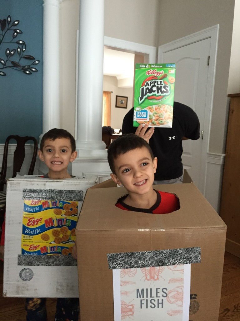 I love watching my triplets grow! Yes, that's my husband as the Apple Jacks BoxTroll. How did those even get in my house?