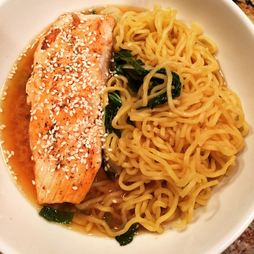 Pam-Roasted Salmon Ramen with spicy miso broth and wakame! I had zero clue what wakame was but it's tasty...and it's like a seaweed type thing.