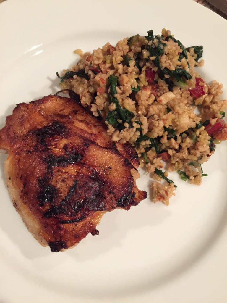 Crispy Chicken Thighs with kumquat relish and freekeh salad! WTH is freekeh? Who cares! It's amazeballs.