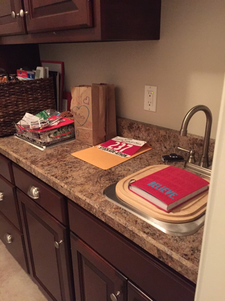 My counter of crap in the laundry room. My little haven of all things sweat!