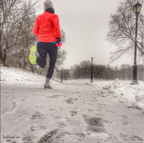 Christine takes the most amazing pictures on Instagram, like this one of her running though one of the many snow days in NYC.