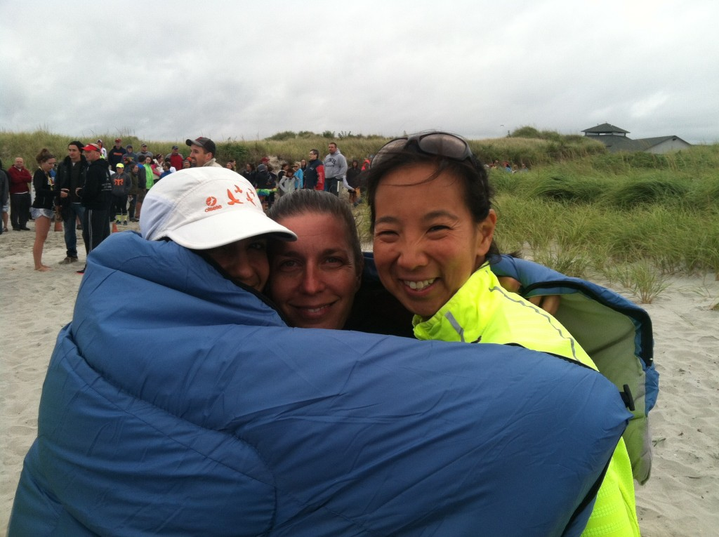 I'm the one you can barely see, huddled under the blanket with Melissa Burton, at the end of Ragnar. It was freezing and we were on a beach. In the rain.