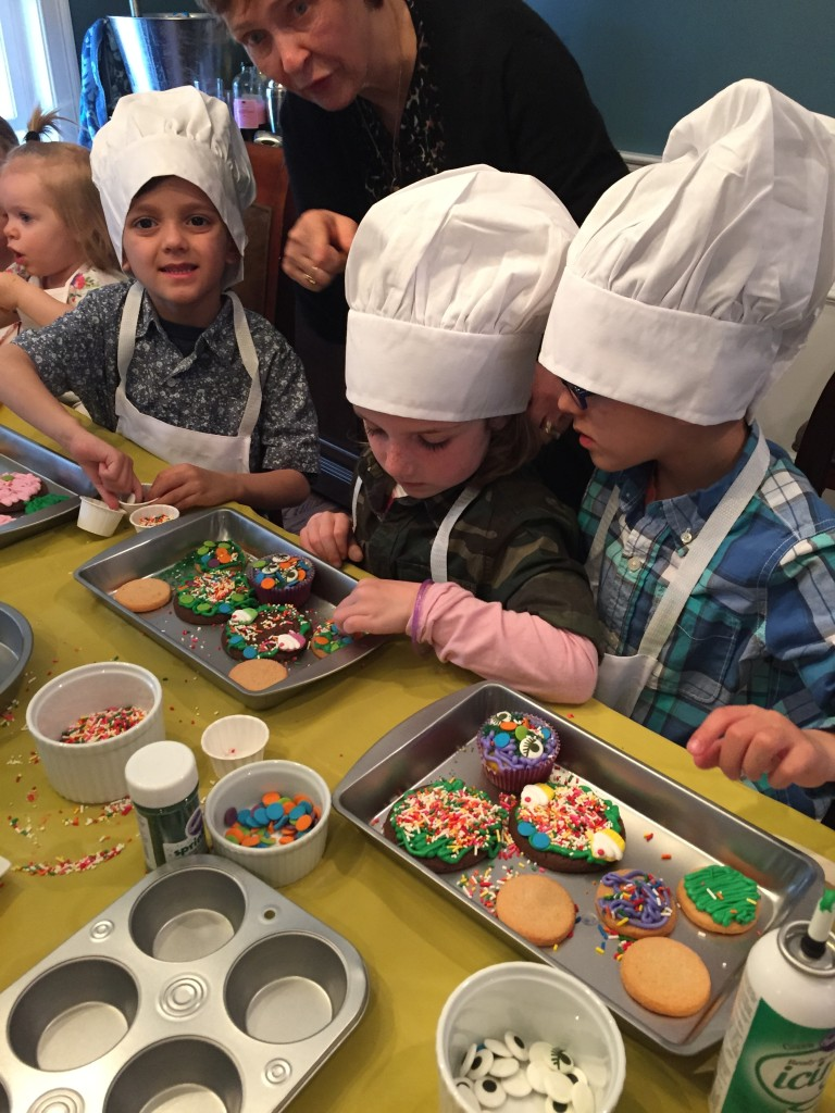Each guest had a try to decorate as many cookies and cupcakes as they could. It was hilarious.