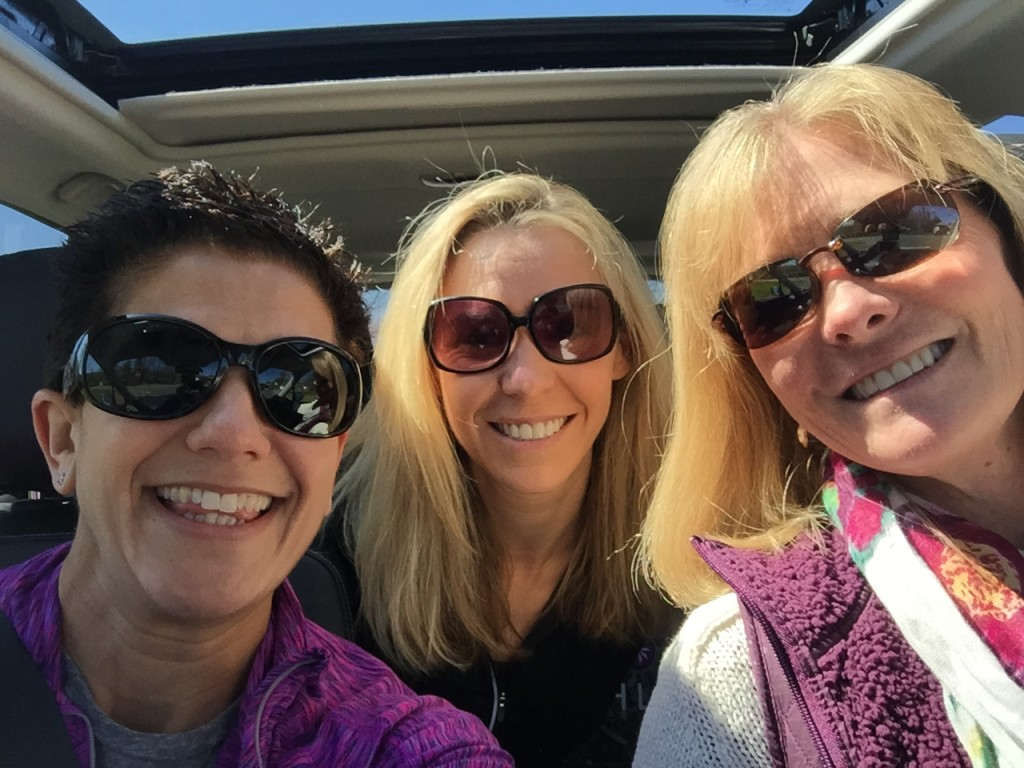 At the start of our journey! Denise was our driver, motivator and caregiver...she's the other blonde at the wheel!