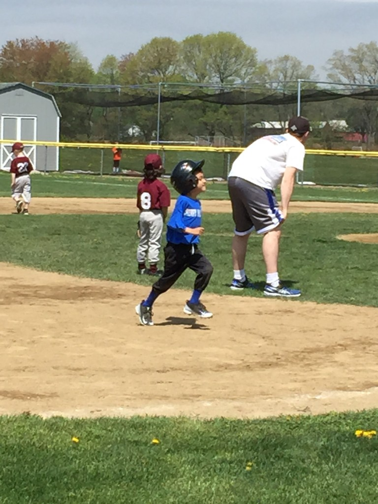 These days I'm enjoying watching my sons run bases. Look at that form!