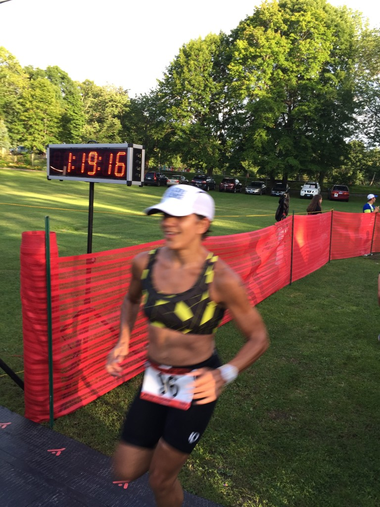 Smiling at the finish of the Pat Griskus Triathlon before I knew I didn't qualify.