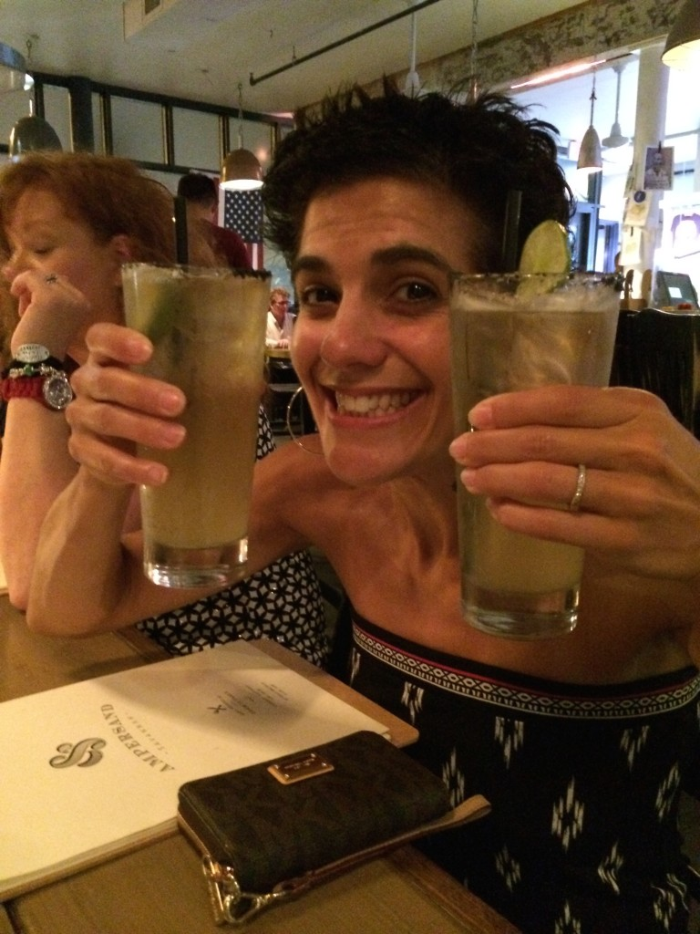 Double fisting after my Ignite presentation at Fitbloggin in 2014. Drinking at a fitness conference. Yep.