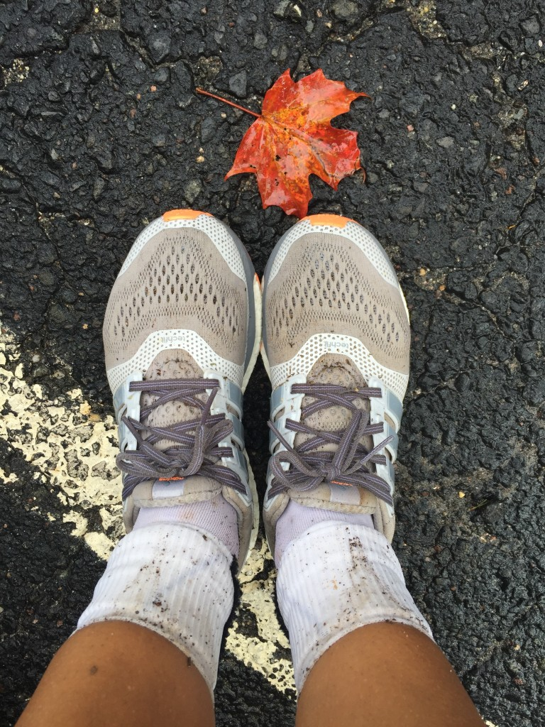 This is what your running shoes and rolled down compression socks look like after 19 miles in the rain and humidity. I should really be a fashion blogger.