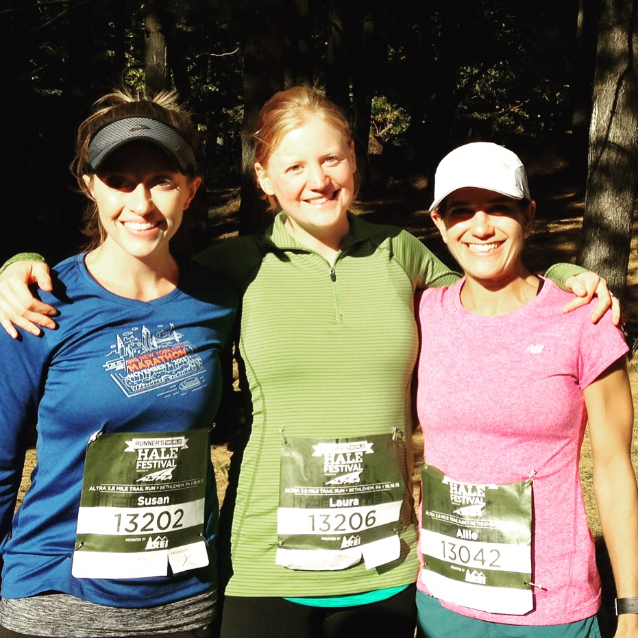 Susan of @susanruns and Laura of @mommyrunfast and yours truly after we all made it to the finish in one piece.