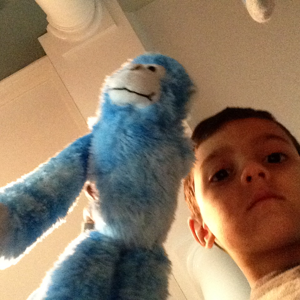 I find random selfies on my phone constantly like this one of Miles with his one-armed blue monkey. He totally wanted to keep this.