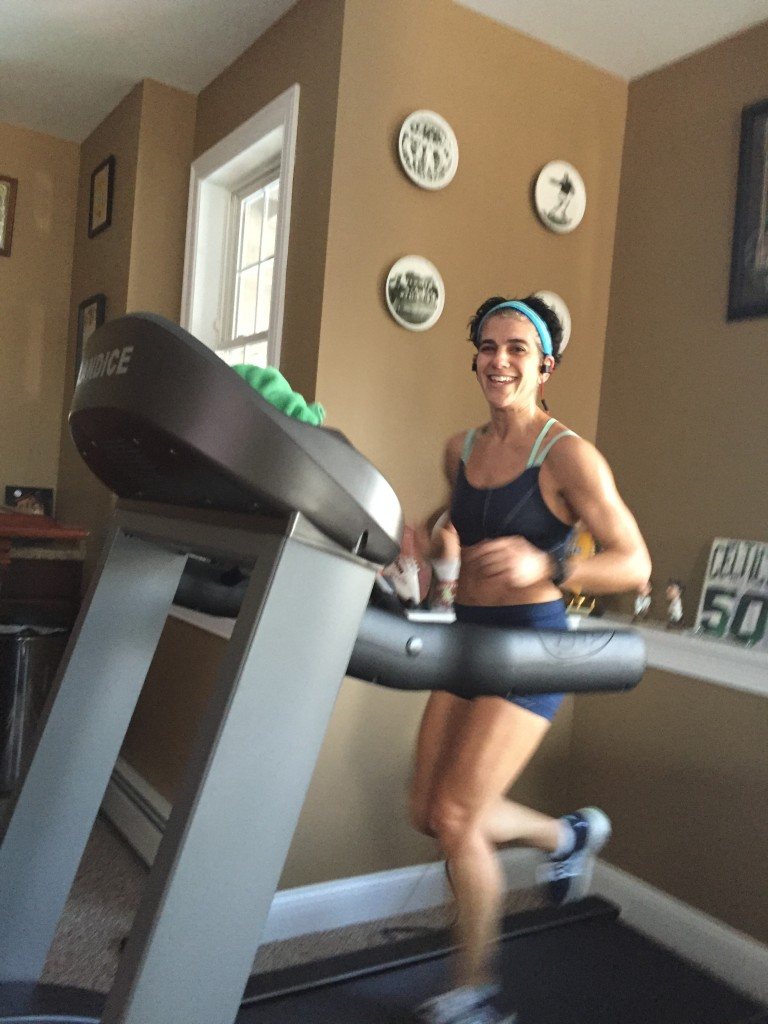 Vaughn took this shot on my cool down mile. Can you tell how happy this treadmill is already making me?