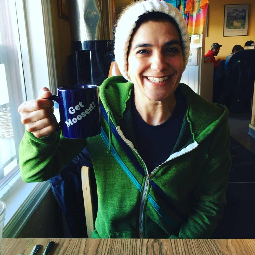 Coffee and a big breakfast at the Blue Moose pre-snowboarding.