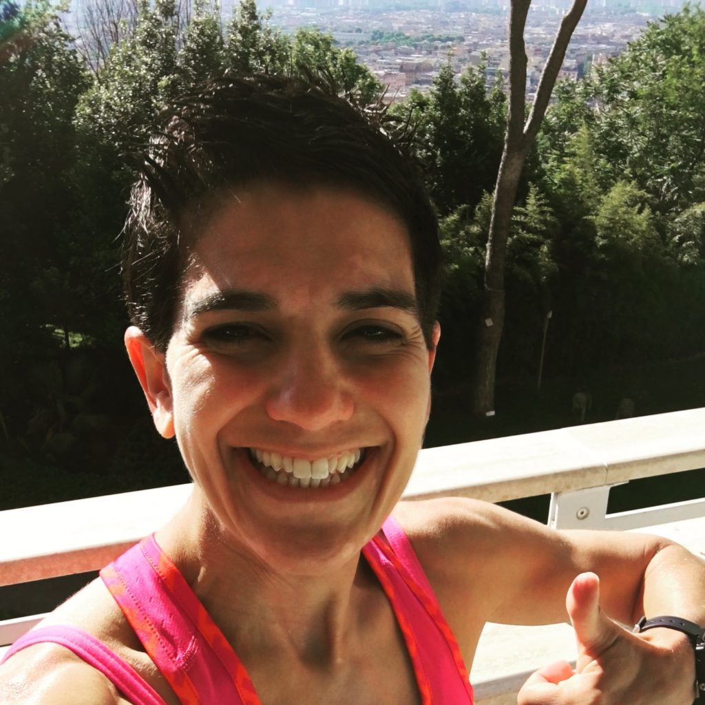"On the balcony of my hotel, overlooking Rome, after my run on the ""track."""