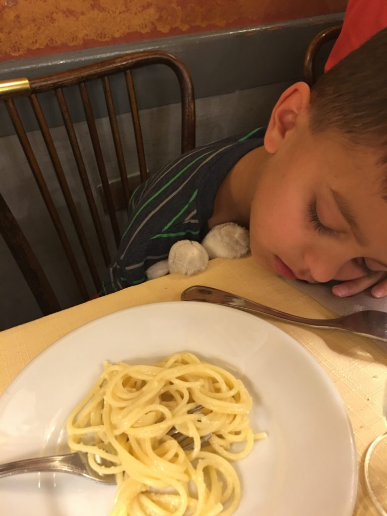 As my SIL said, no trip to Italy is complete unless you land facedown in your pasta. Poor Miles. This was lunch on the second or third day and he was still jet lagged.