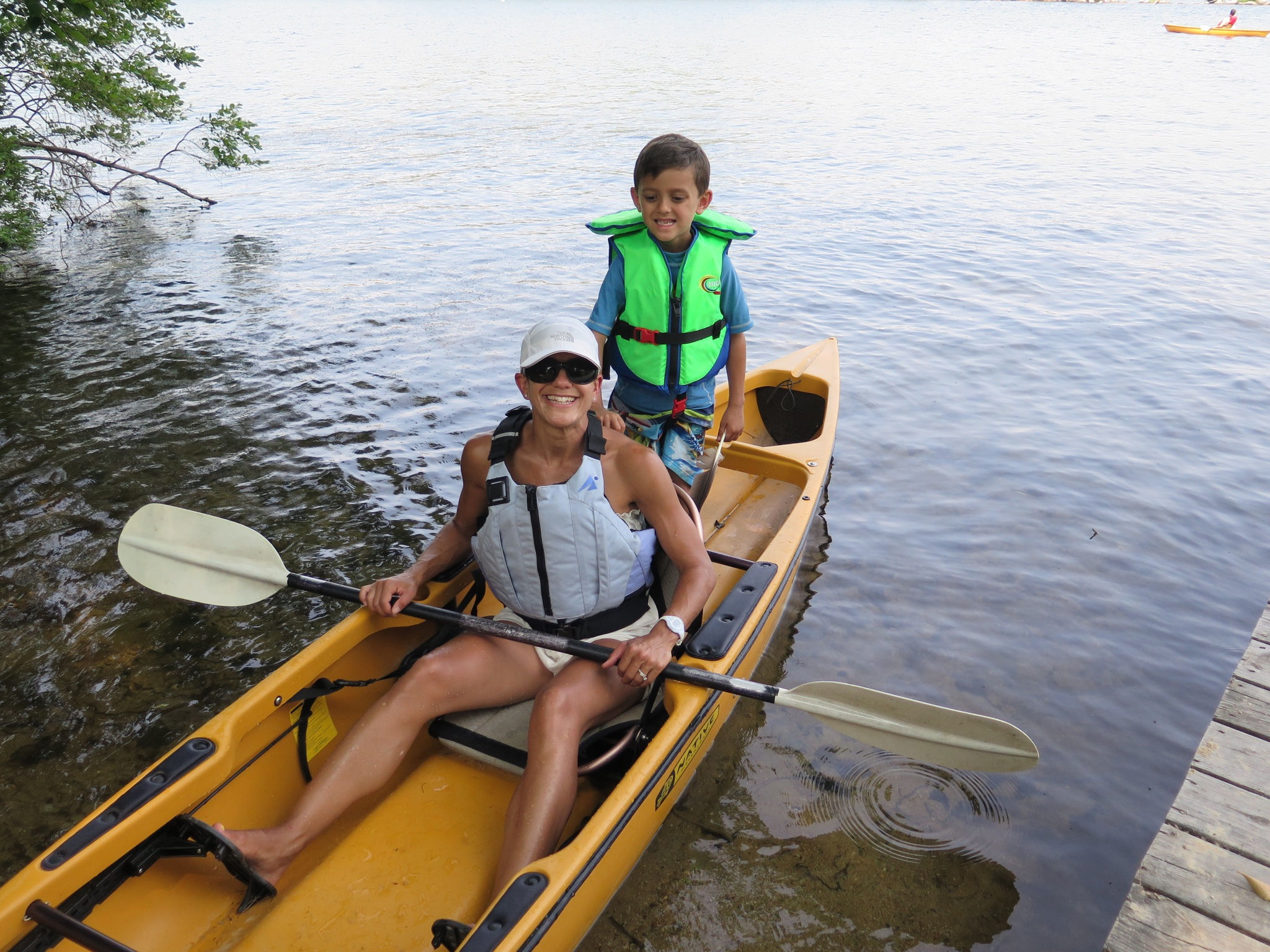 I was able to kayak with one son at a time in Lake Winni last summer because my entire family was there. The boys would usually stay in the boat for about 10 minutes and then I would drop them off with someone and go back out. #Intervals