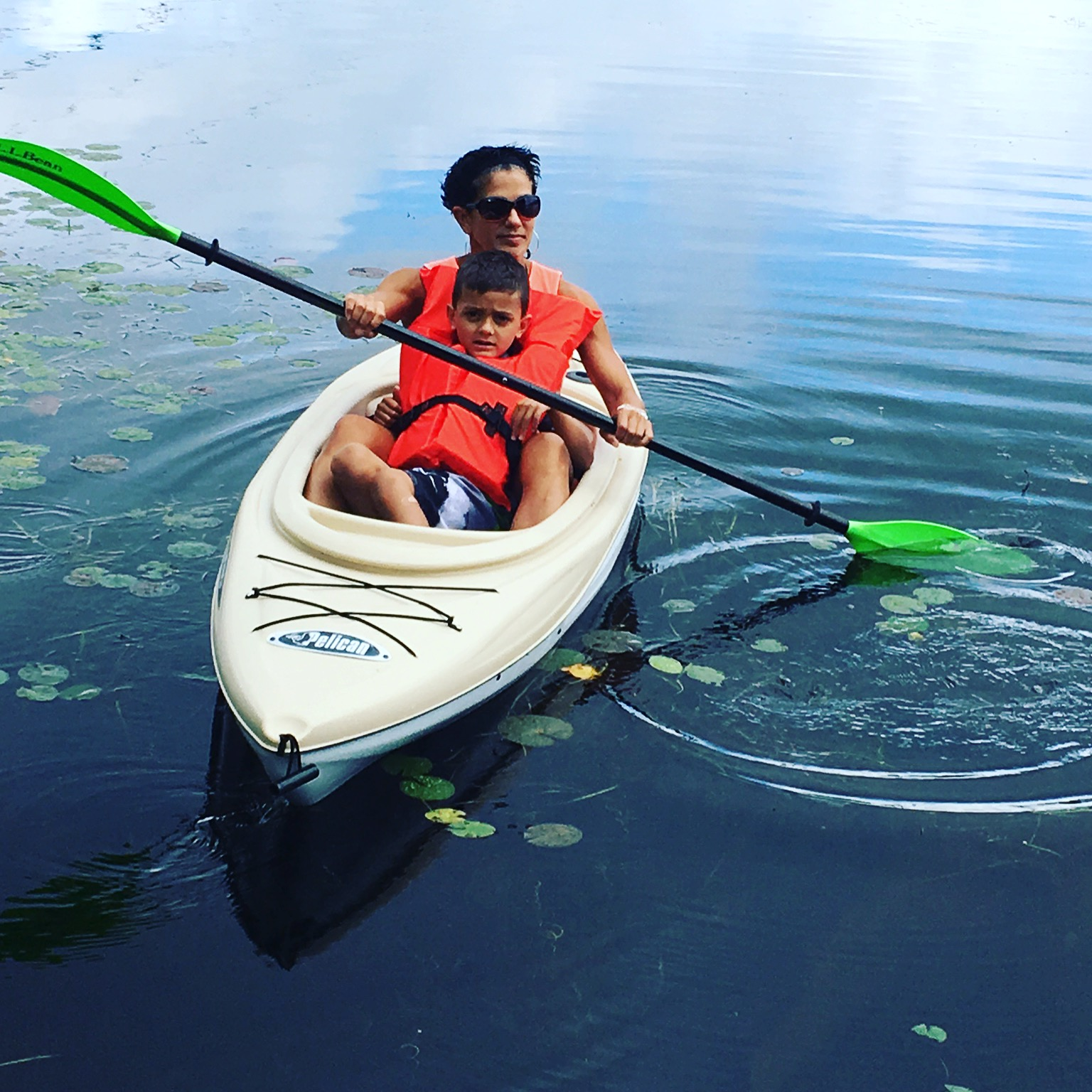 Kayaking with my son on Lake Bomoseen in Vermont. Bonus points if you know which twin it is.