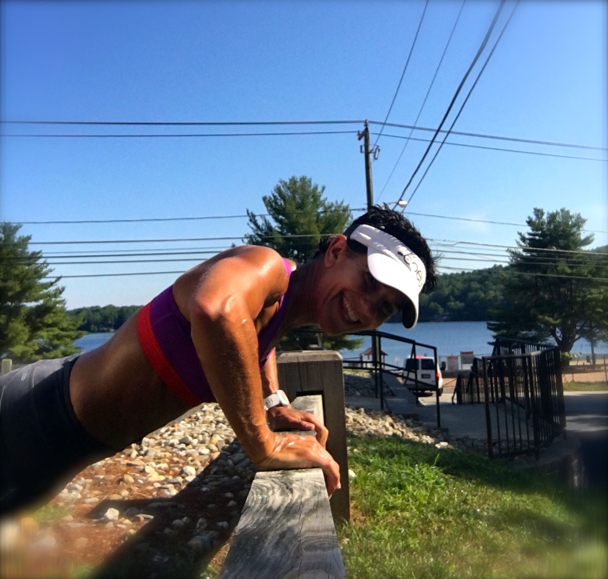 Just a quick core session in between my run and swim. It was a gorgeous day at the lake!