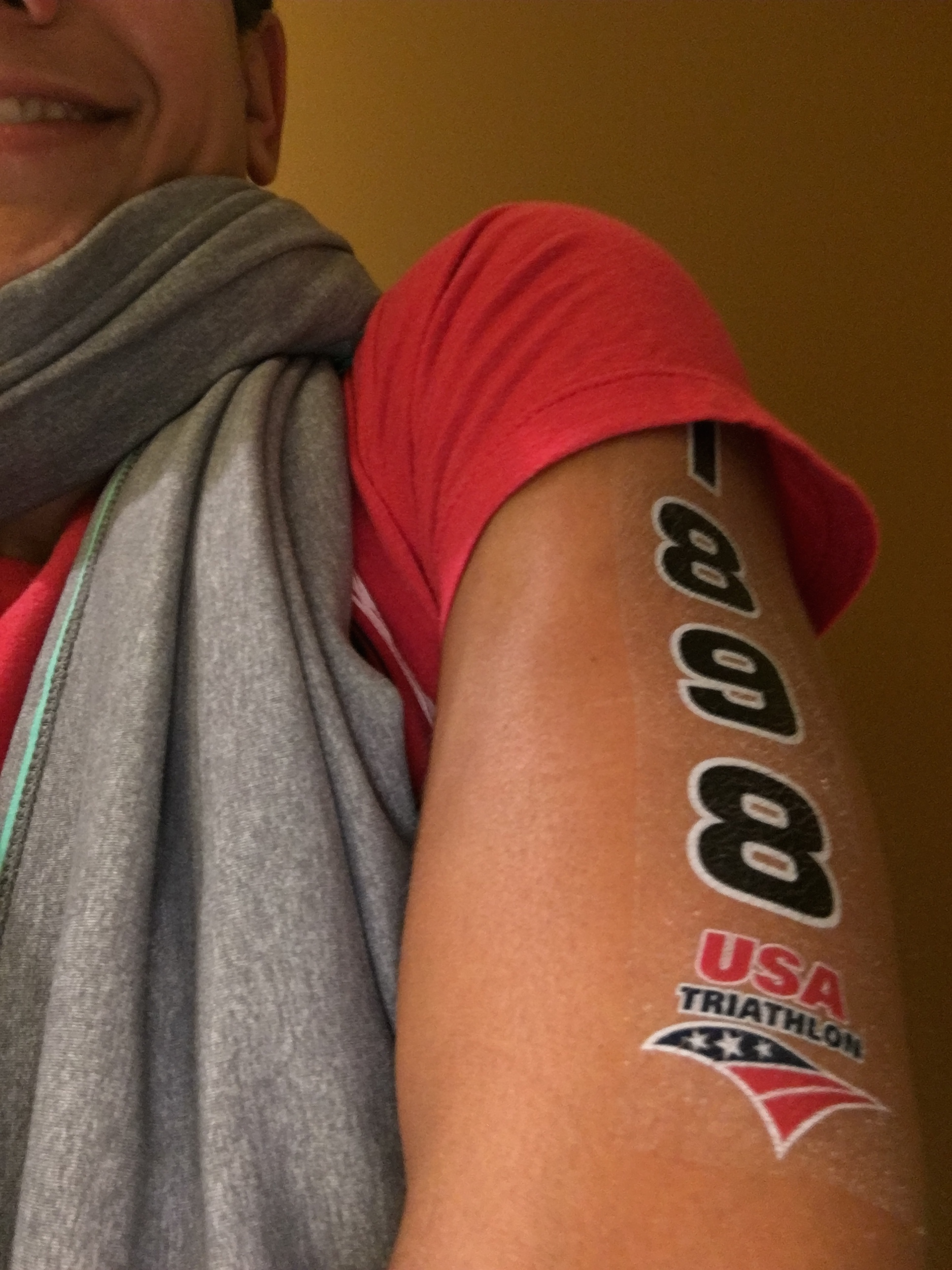 Numbers tattooed on and ready to race!