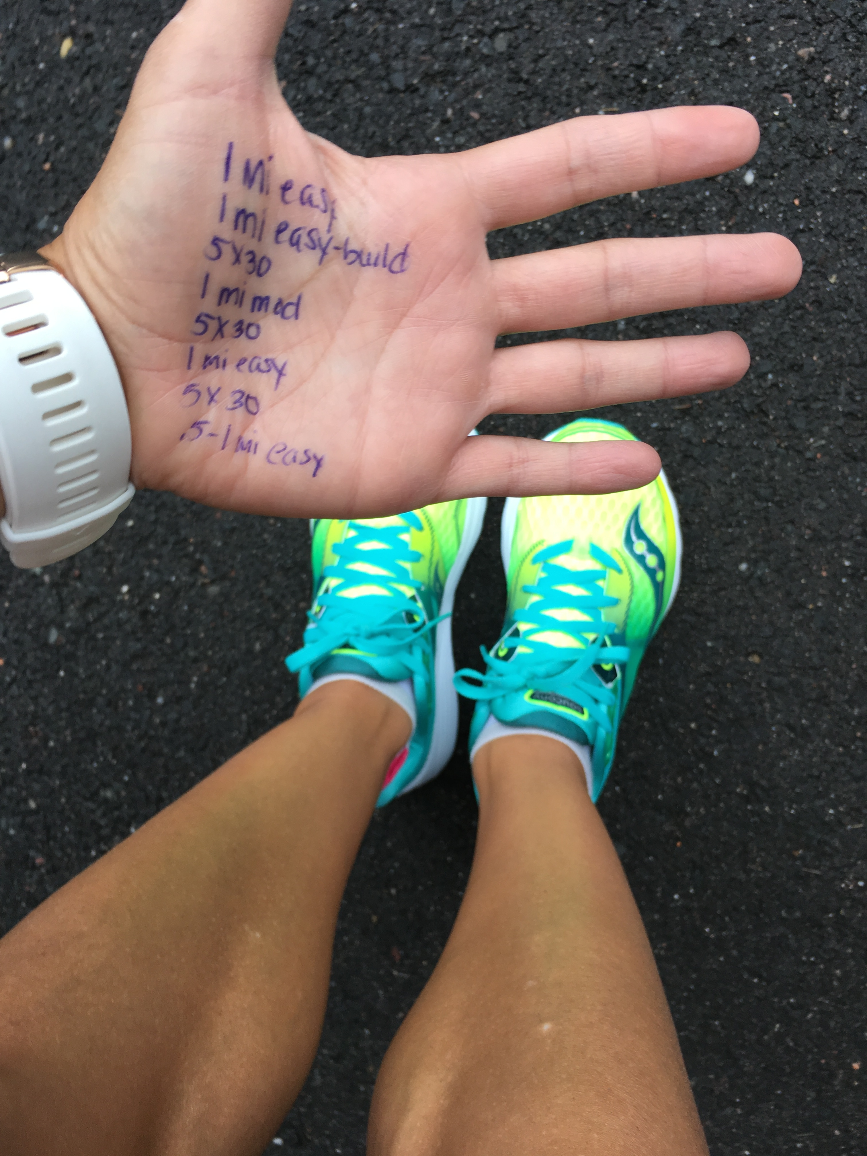 Yes, I needed to write my workout on my hand because I'm old and can't remember stuff.