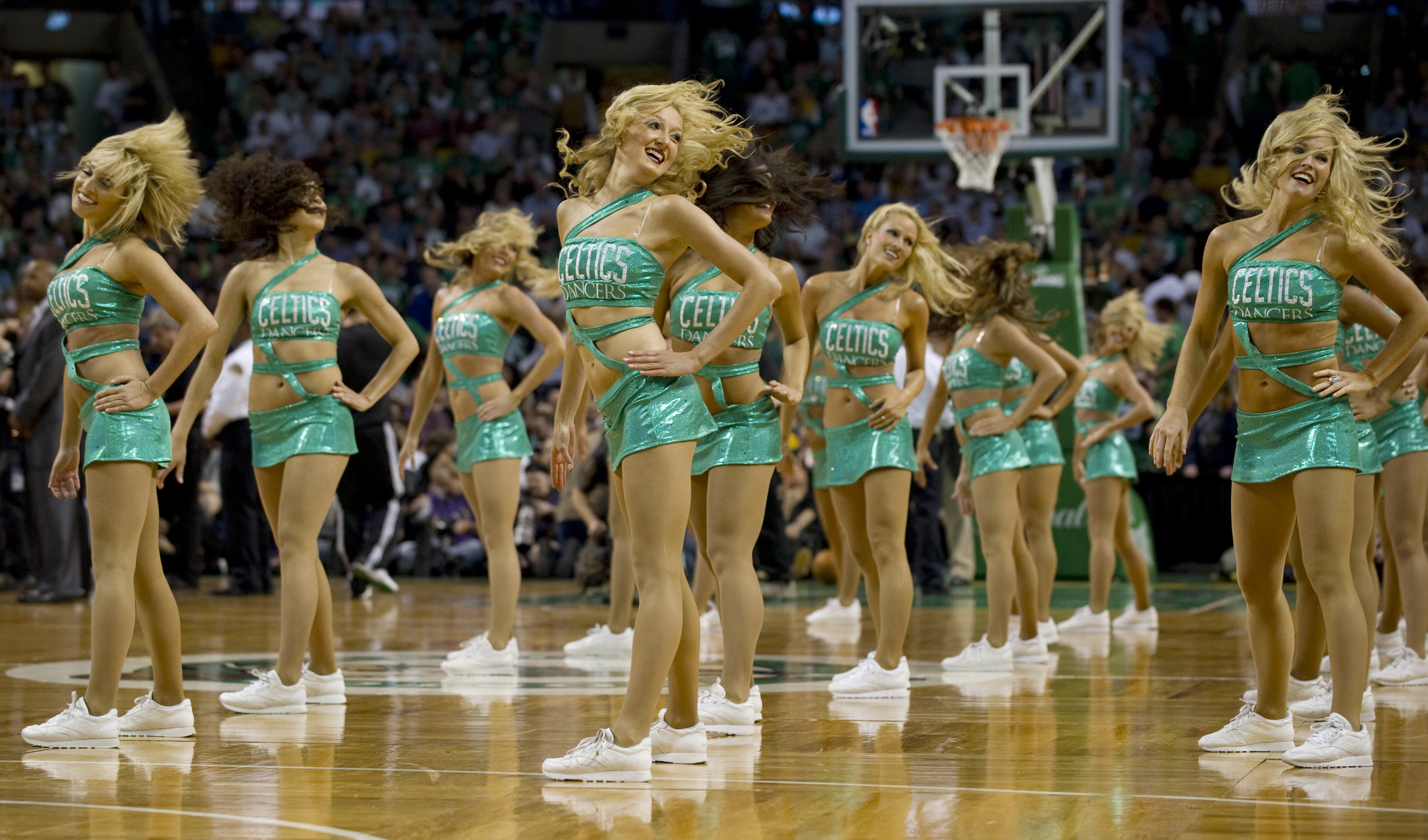 Boston Celtics cheerleaders perform during game three of the NBA Finals against the La Lakers on June 8, 2010 in Boston. Kobe Bryant scored 29 points and Derek Fisher finished with 16 as the Lakers beat the Celtics 91-84 to take a 2-1 series lead in the NBA finals. AFP PHOTO / DON EMMERT (Photo credit should read DON EMMERT/AFP/Getty Images)