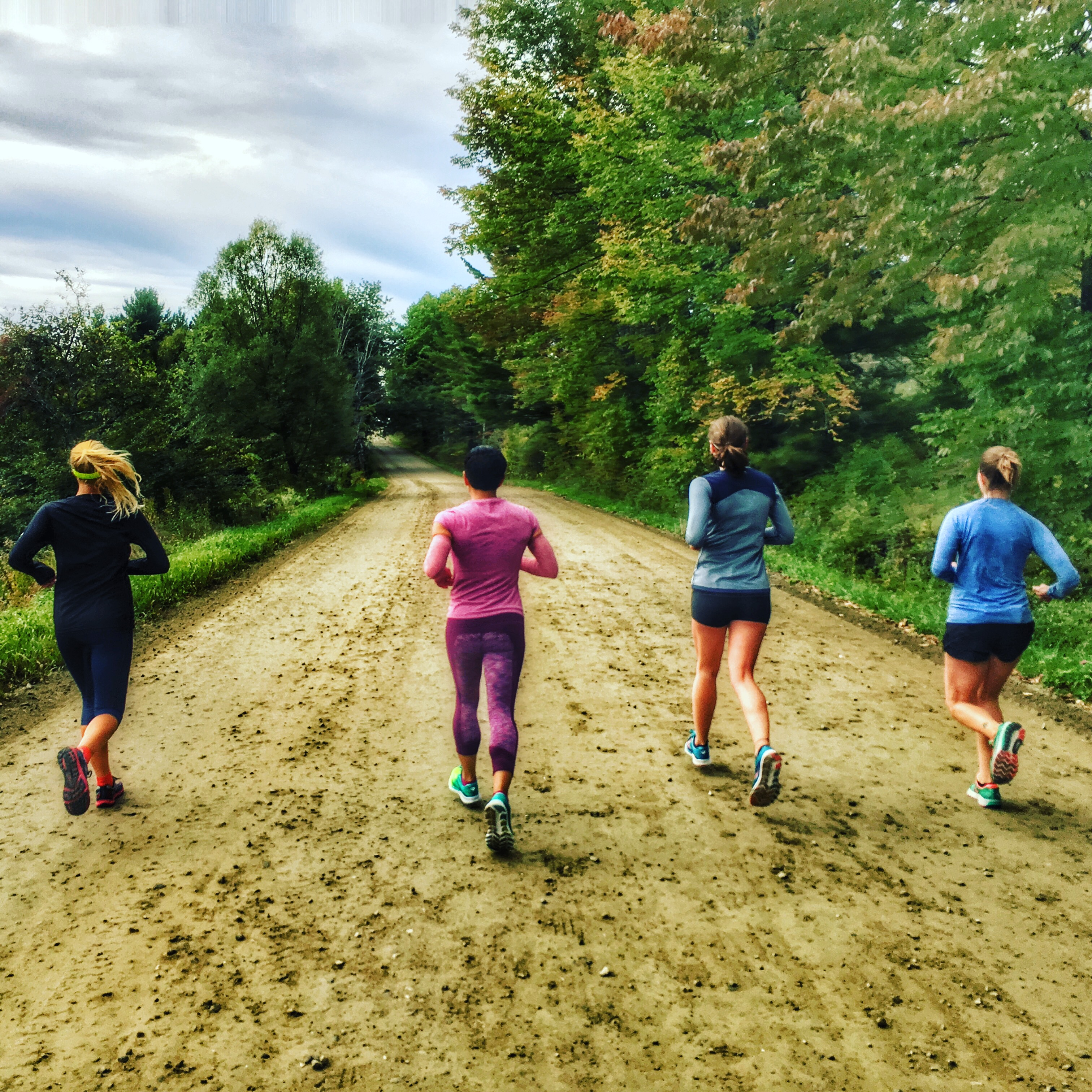 Happily running a few days prior to the race, not knowing what we were in for! (From right: Sarah, me, Laura and