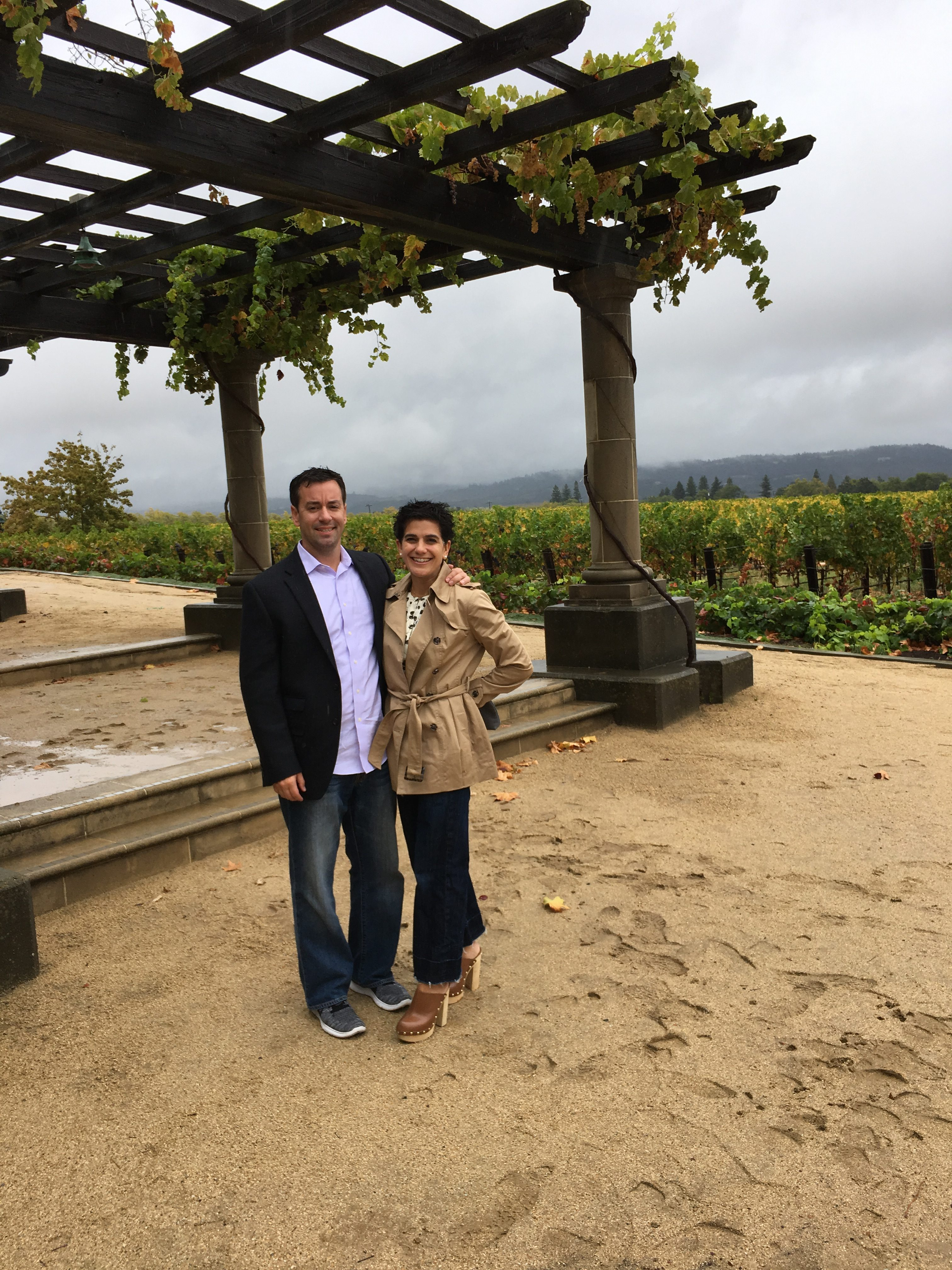 Just hanging out in the rain with my husband at Inglenook winery.