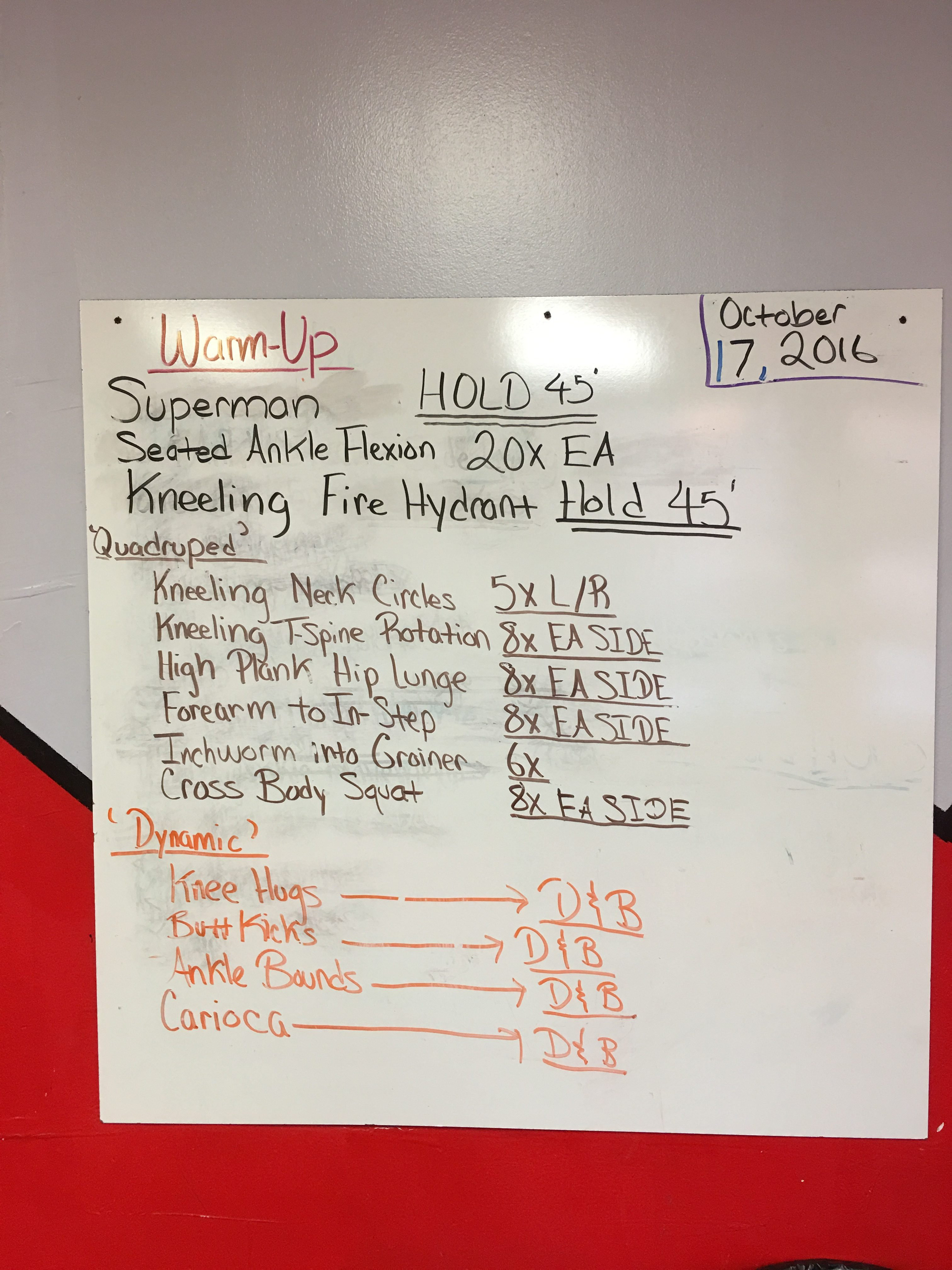 Our dynamic warm-up board.
